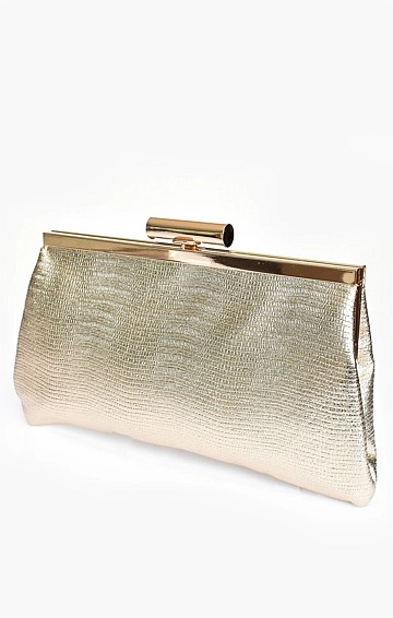 CLIP TOP METALLIC FRAME CLUTCH WITH STRAP IN GOLD