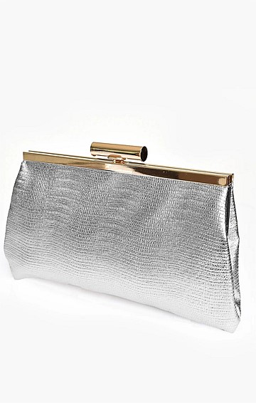 CLIP TOP METALLIC FRAME CLUTCH WITH STRAP IN SILVER