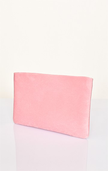 VELVET RECESSED ZIP CLUTCH IN PINK