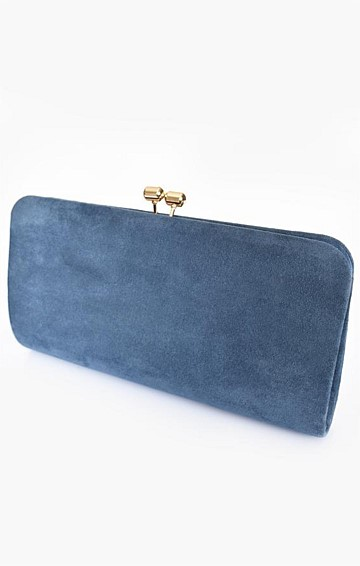 FRAMED CLIP TOP RECTANGLE CLUTCH IN INDIGO