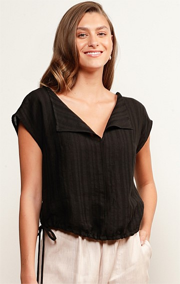 BROADBEACH LINEN LOOSE-FIT V-NECK CAP SLEEVE TOP IN BLACK STRIPE