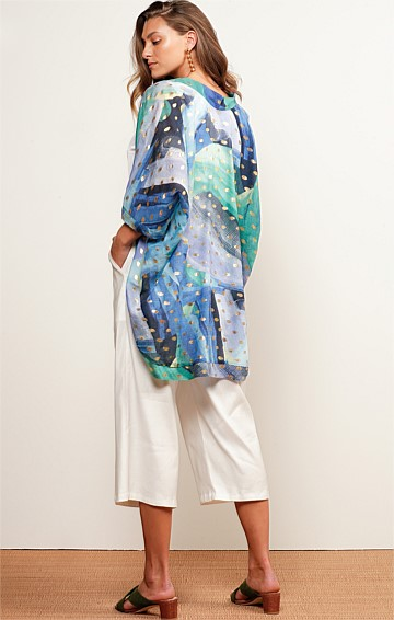 HAMILTON ISLAND 3/4 SLEEVE LOOSE-FIT COTTON KIMONO IN BLUE SEA GOLD LEAF