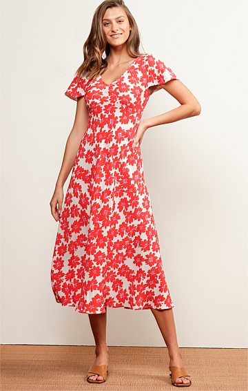 PORT DOUGLAS CAP SLEEVE V-NECK A-LINE MIDI DRESS IN RED WHITE FLOWER