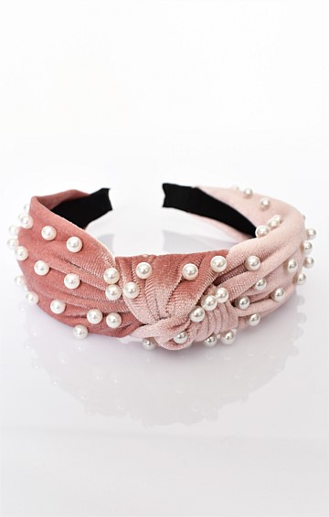 VELVET PEARL KNOTTED HEADBAND IN PINK CREAM