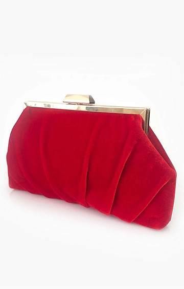 PLEATED VELVET FRAME CLUTCH WITH STRAP IN RED