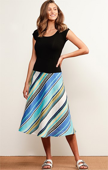 PEREGIAN ELASTICATED WAIST PULL ON A-LINE MIDI SKIRT IN AQUA STRIPE