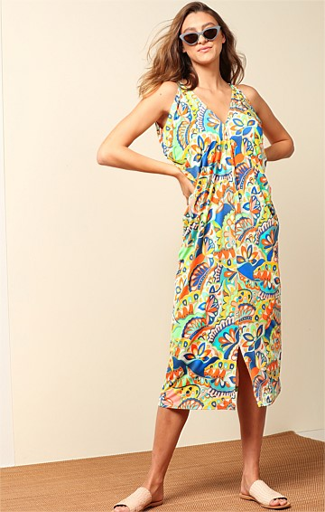 WHITSUNDAYS STRETCH JERSEY V-NECK FRONT SPLIT MIDI DRESS IN SUMMER ABSTRACT PRINT