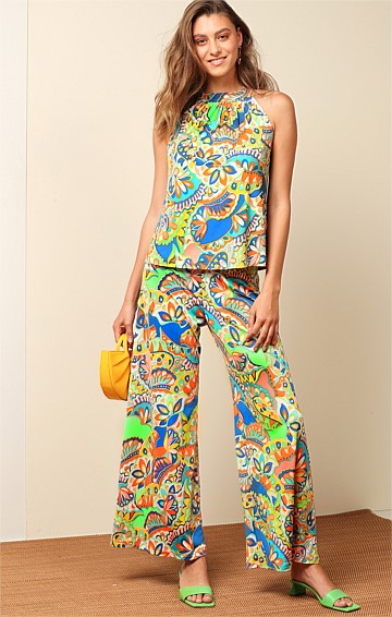 ELYSIAN STRETCH JERSEY WIDE LEG PANT IN SUMMER ABSTRACT PRINT