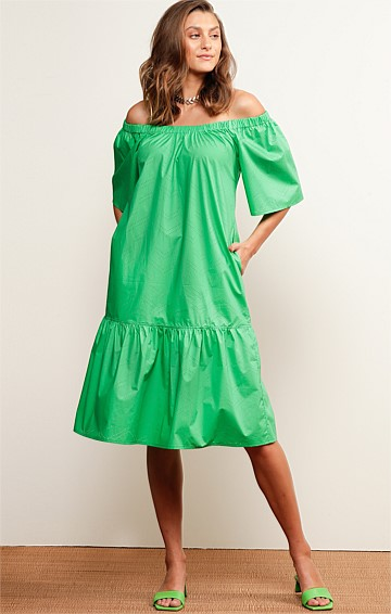 FRASER ISLAND OFF THE SHOULDER A-LINE KNEE-LENGTH DRESS IN APPLE