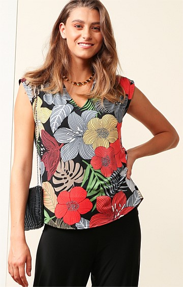 MAGNETIC ISLAND STRETCH JERSEY LOOSE-FIT CAP SLEEVE V-NECK TOP IN BOLD FLORAL BLACK PRINT