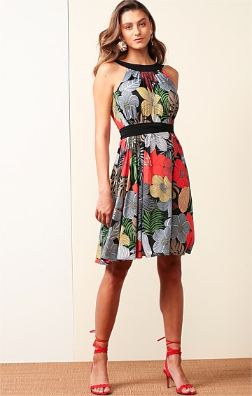 PARADISE BAY STRETCH JERSEY REVERSIBLE KNEE-LENGTH SWING DRESS IN BOLD FLORAL BLACK PRINT