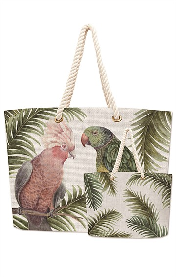 OLIVIER COTTON DOUBLE SIDED TOTE BAG IN MOSS