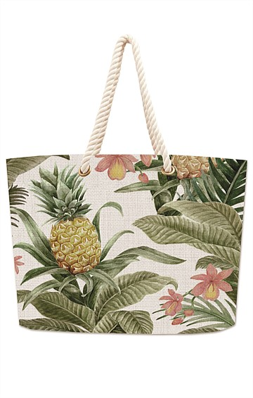 ALMERIA COTTON DOUBLE SIDED TOTE BAG IN MOSS