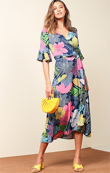 MT TAMBORINE STRETCH JERSEY V-NECK A-LINE MIDI WRAP DRESS IN BOLD FLORAL NAVY PINK PRINT