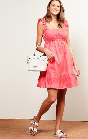 RAINBOW BEACH PERFORATED COTTON SLEEVELESS A-LINE KNEE-LENGTH BABY DOLL DRESS IN WATERMELON