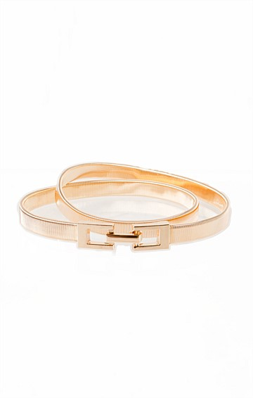 SLINKY STRETCH BELT WITH HOOK CLASP IN GOLD