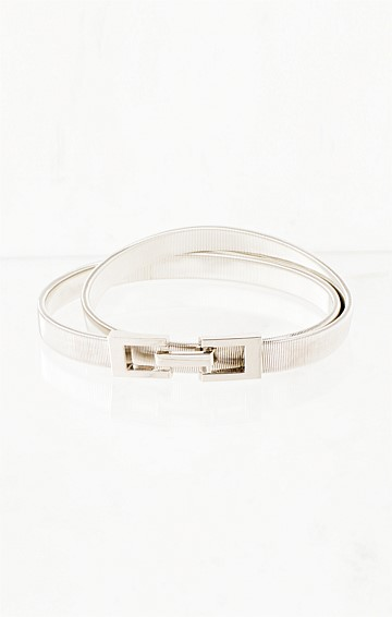 SLINKY STRETCH BELT WITH HOOK CLASP IN SILVER