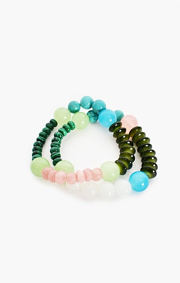 BEAD MIX ELASTICATED BRACELET DUO SET IN GREEN