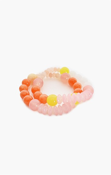 BEAD MIX ELASTICATED BRACELET DUO SET IN ORANGE PINK