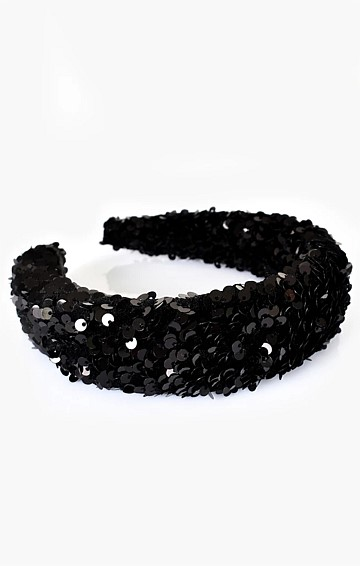 SEQUIN HEADBAND IN BLACK