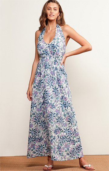 DUNK ISLAND HALTER V-NECK SLEEVELESS A-LINE MAXI DRESS IN BLUE BOTANICAL PRINT