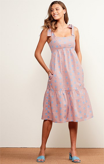 CALOUNDRA SQUARE-NECK SLEEVELESS ADJUSTABLE STRAP A-LINE MIDI DRESS IN PINK SKY SPOT