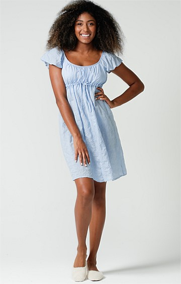 BREKKY IN BED ADJUSTABLE SCOOP NECK CAP SLEEVE A-LINE BABY DOLL NIGHTIE IN BLUE SEERSUCKER