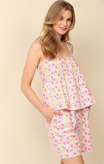SWAN AROUND LOOSE-FIT ELASTICATED WAIST PULL ON SHORT IN CANDY FLORAL