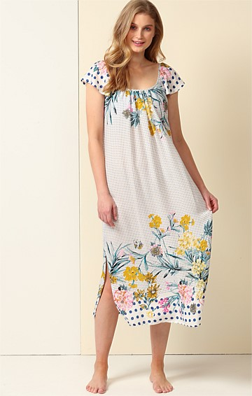IN REPOSE SCOOP NECK CAP SLEEVE A-LINE LONG NIGHTIE IN SPOT FLORAL