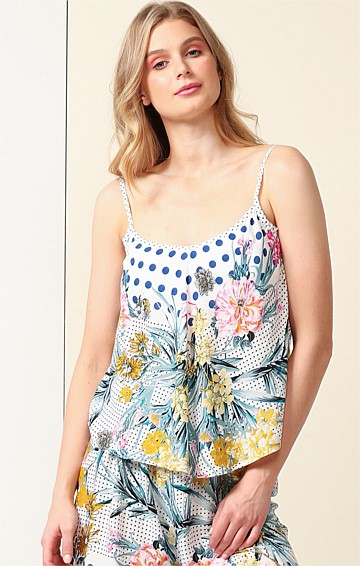 LADY OF LEISURE SCOOP-NECK SLEEVELESS ADJUSTABLE STRAP CAMI IN SPOT FLORAL