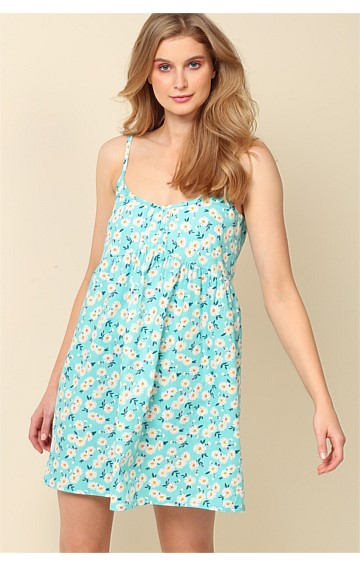 SUNSET TO SUNRISE ADJUSTABLE STRAP SLEEVELESS SCOOP-NECK A-LINE NIGHTIE IN AQUA DAISY