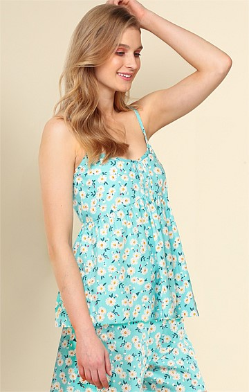LAZY DAY ADJUSTABLE STRAP SCOOP-NECK BABY DOLL CAMI IN AQUA DAISY