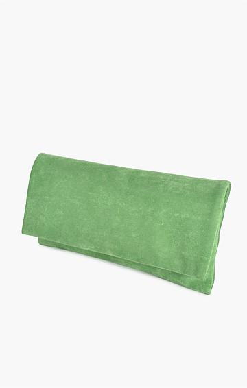 MICRO SUEDE FOLD OVER CLUTCH IN GREEN