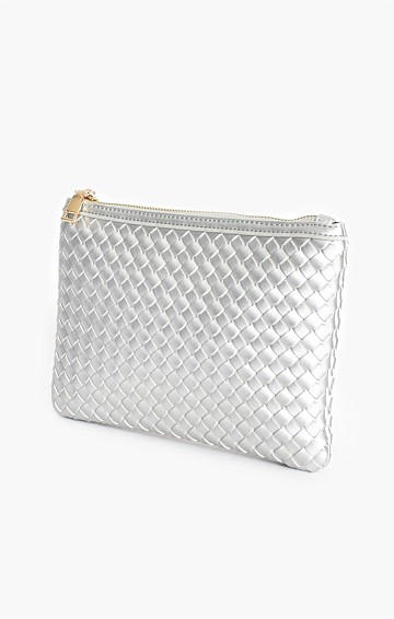 METALLIC PLAIT ZIP TOP CLUTCH IN SILVER