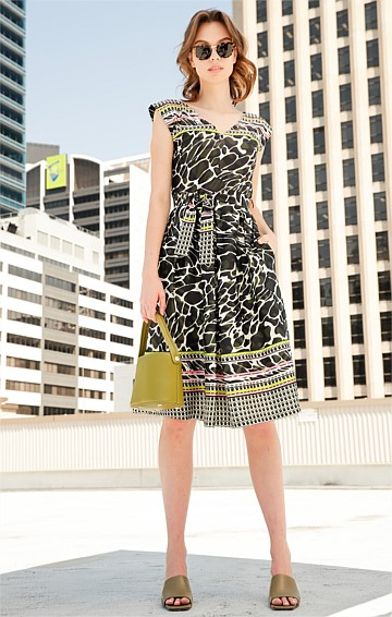 MT COOTHA COTTON CAP SLEEVE V-NECK A-LINE KNEE LENGTH DRESS IN OLIVE ANIMAL PINK STRIPE PRINT