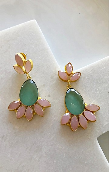 OPHELIA DROP EARRING IN PINK GREEN