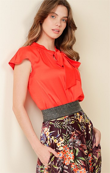 GPO LOOSE FIT CAP SLEEVE FRONT NECK BLOUSE IN TANGERINE