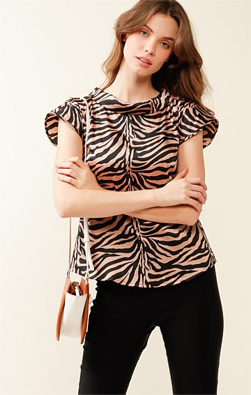 ST LUCIA CAP SLEEVE HIGH-NECK COLLAR TOP IN BLACK TAN ANIMAL