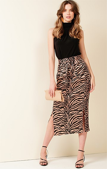 LONE PINE ELASTIATED HIGH WAIST MIDI SKIRT IN BLACK TAN ANIMAL