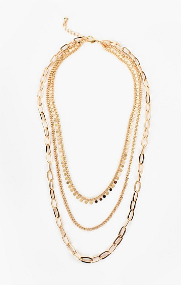 MULTI CHAIN LAYERED NECKLACE IN GOLD