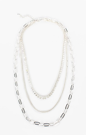 MULTI CHAIN LAYERED NECKLACE IN SILVER