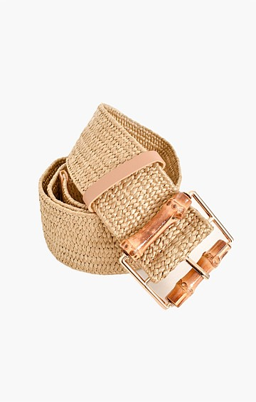 BAMBOO BUCKLE STRETCH BELT IN NATURAL