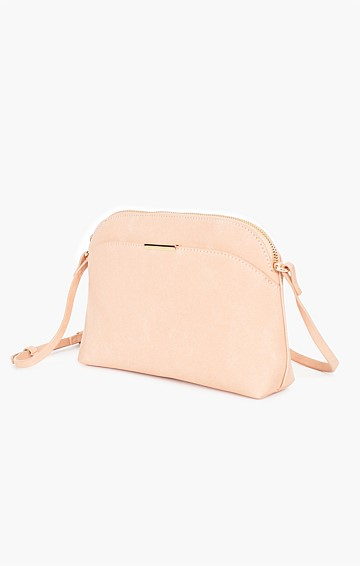 CYNTHIA FAUX SUEDE CROSSBODY BAG IN NUDE