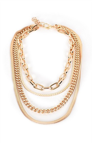 LAYERS MULTI CHAIN NECKLACE IN GOLD
