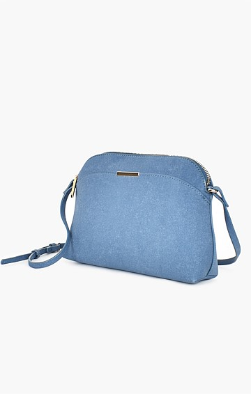 CYNTHIA FAUX SUEDE CROSSBODY BAG IN BLUE