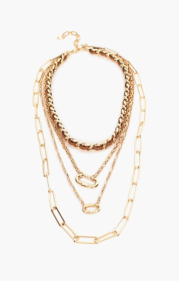 LAYERED LEATHER CHAIN NECKLACE IN TAN GOLD