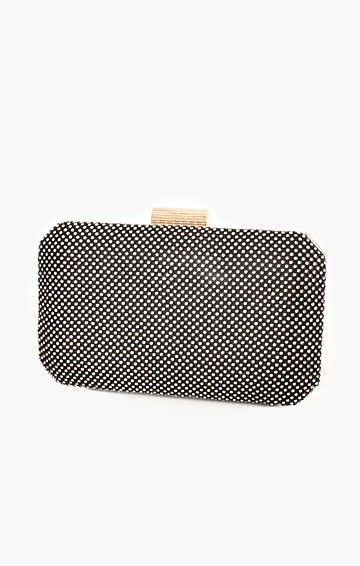 DIAMANTE MESH STRUCTURED CLUTCH IN BLACK CRYSTAL
