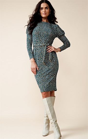 RENAU 3/4 SLEEVE REVERSIBLE FITTED STRETCH JERSEY KNEE LENGTH DRESS IN TEAL GOLD LEOPARD