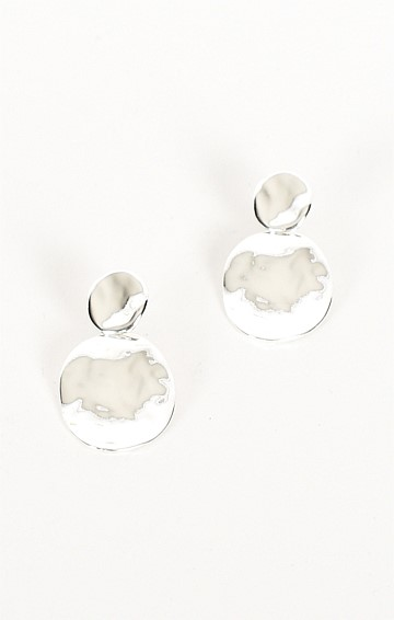 LAYERED OVAL DROP EARRING IN SILVER