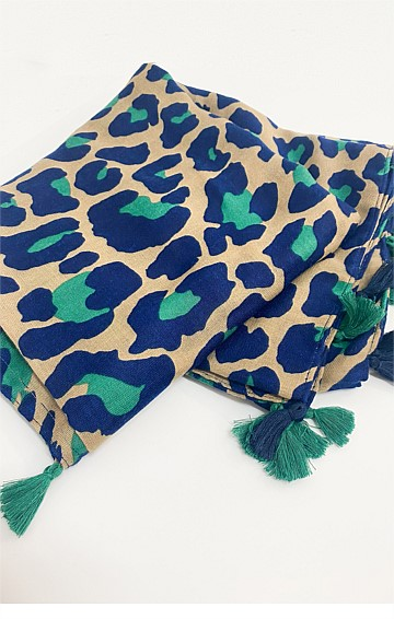 SHANIA SCARF IN GREEN LEOPARD